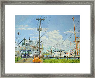 Framed Print featuring the painting Buying Shrimp In Rockville by Dwain Ray