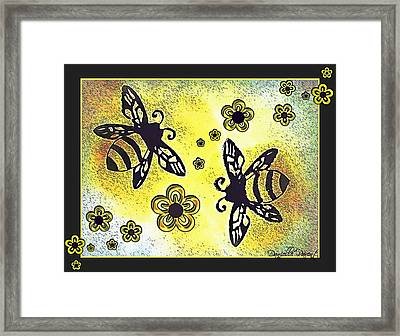 Buzy Bees And Daisies Framed Print