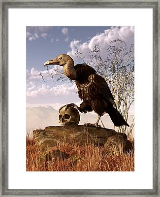 Buzzard With A Skull Framed Print by Daniel Eskridge