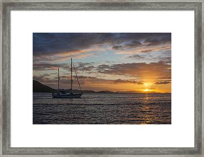 Bvi Sunset Framed Print by Adam Romanowicz