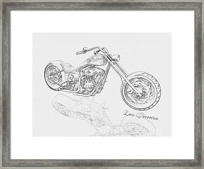Bw Gator Motorcycle Framed Print by Louis Ferreira