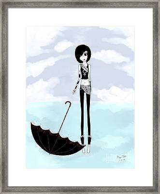 Bw Girl Umbrella Framed Print by Morgan Temple