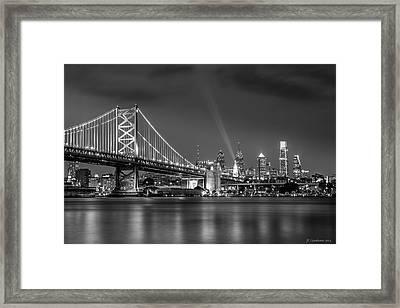 Bw Lit Up Philadelphia Framed Print