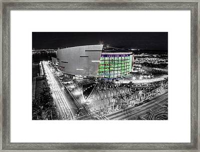 Bw Of American Airline Arena Framed Print by Joe Myeress