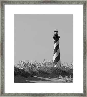 Framed Print featuring the photograph Bw Of Hatteras Lighthouse by Laurinda Bowling
