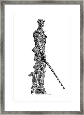 Bw Of Mountaineer Statue Framed Print by Dan Friend