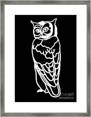 Bw Owl Framed Print by Amy Sorrell