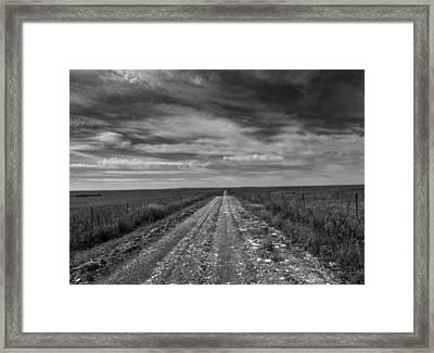 Bxw Gravel Vanishing Point Framed Print