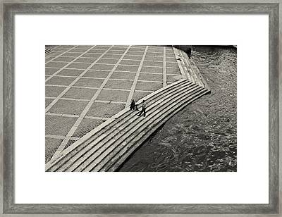 By The Banks Of Seine Black And White Framed Print by Aleksander Rotner
