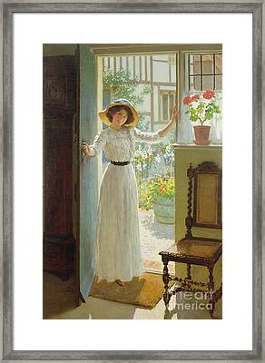 By The Cottage Door Framed Print by William Henry Margetson