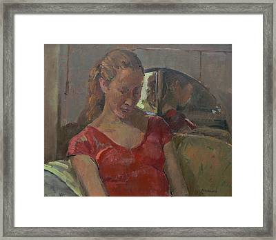 By The Old Mirror, 2009 Oil On Canvas Framed Print