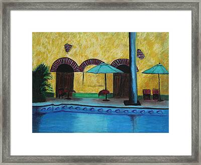 Framed Print featuring the painting By The Poolside by Jeanne Fischer