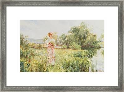 By The River Framed Print by Alfred I Glendening