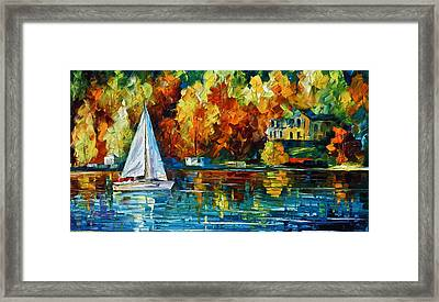 By The Rivershore Framed Print by Leonid Afremov