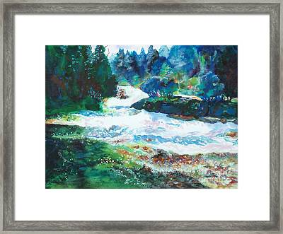 By The Rushing Waters Framed Print by Kathy Braud