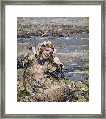 By The Seaside Framed Print by Edward Atkinson Hornel