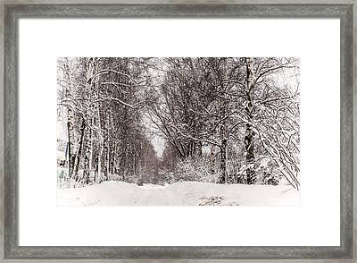 By The Snowy Path. Russia Framed Print by Jenny Rainbow