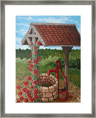 Framed Print featuring the painting By The Water Pump by Katherine Young-Beck
