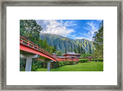 Byodo-in Temple In The Valley Of The Temples Framed Print