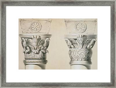 Byzantine Capitals From Columns In The Nave Of The Church Of St Demetrius In Thessalonica Framed Print by Charles Felix Marie Texier
