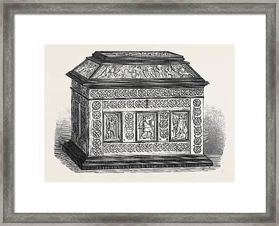 Byzantine Casket Of Bonework Set In Ebony Framed Print by English School