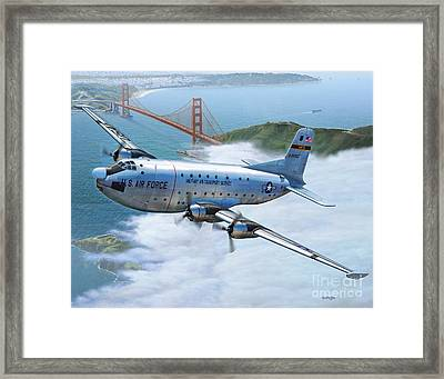 C-124 Shakey Over The Golden Gate Framed Print by Stu Shepherd