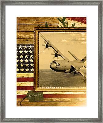 C-130 Hercules Rustic Flag Framed Print by Reggie Saunders