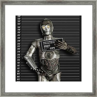 C-3po Mug Shot Framed Print by Tony Rubino