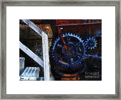 C N W Railroad Bridge Gears Framed Print by David Blank
