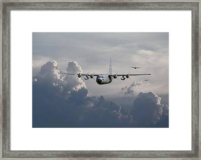 C130 Hecules    In Trail Framed Print by Pat Speirs