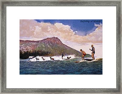 C.192030 Hawaii, Oahu, Art, Surfers On Framed Print by Hawaiian Legacy Archive