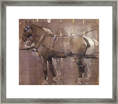 Cab Horses By Gaslight  Framed Print by Joseph Crawhall