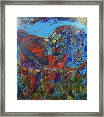 Caballo En Azul Framed Print by Manuel Gonzalez