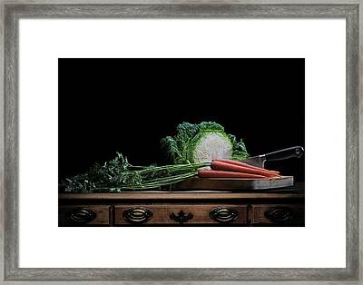 Cabbage And Carrots Framed Print