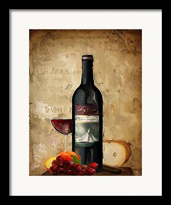 Bread And Wine Art Framed Prints