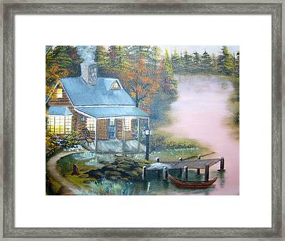 Cabin At The Lake Framed Print
