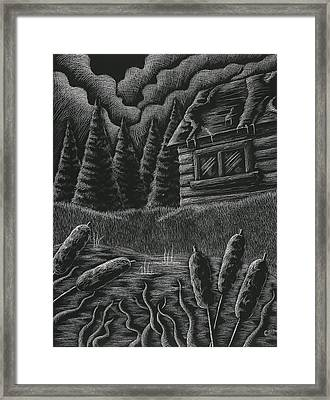 Cabin By A Lake Framed Print