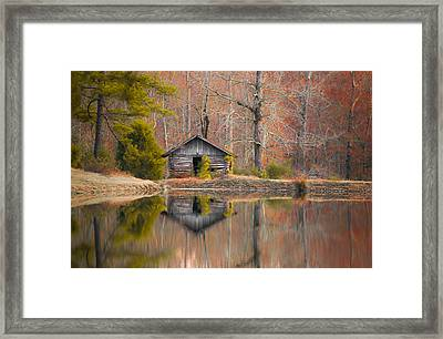 Cabin By The Lake In Autumn Framed Print by Shelby  Young
