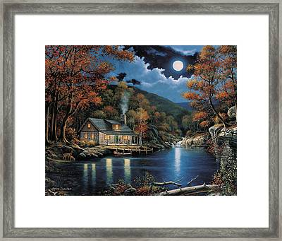 Cabin By The Lake Framed Print