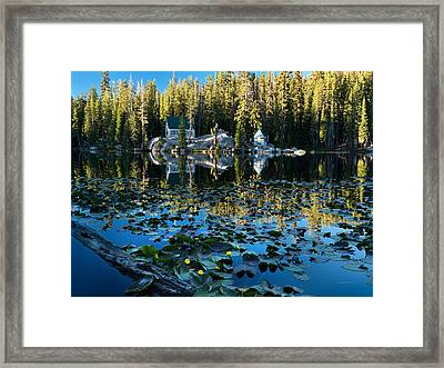 Cabin By The Lake Framed Print by Leland D Howard