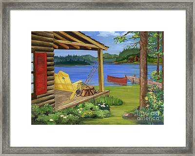 Cabin By The Lake Framed Print by Paul Brent