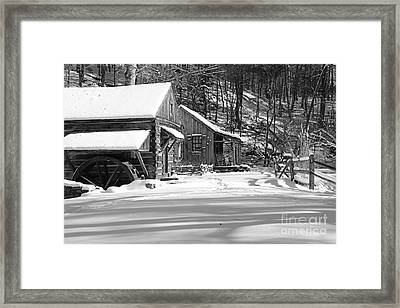 Cabin Fever In Black And White Framed Print