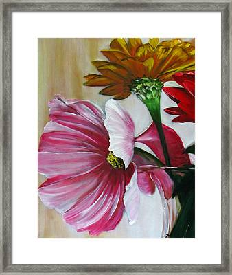 Cabin Flowers Framed Print by Sherry Robinson