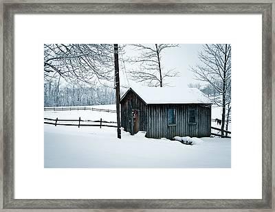 Cabin In Snow Framed Print by Nickaleen Neff
