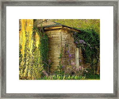 Cabin In The Back Framed Print by Rodney Lee Williams