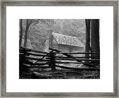 Cabin In The Fog Framed Print by Julie Dant