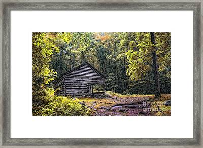 Framed Print featuring the photograph Cabin In The Mountains by Gina Cormier