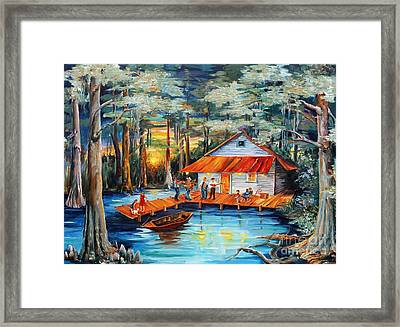 Cabin In The Swamp Framed Print by Diane Millsap