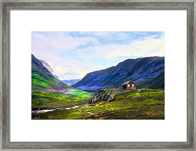 Cabin In The Valley Framed Print by Tyler Robbins