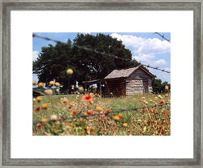 Cabin In The Wildflowers Framed Print